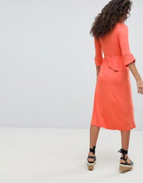photo Midi Wrap Dress by ASOS DESIGN Tall, color Coral - Image 2