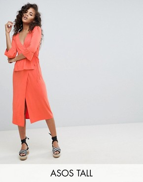 photo Midi Wrap Dress by ASOS DESIGN Tall, color Coral - Image 1