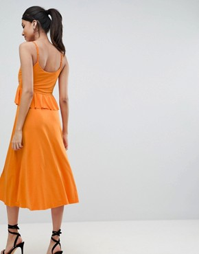 photo Slinky Midi Sundress with Waist Ruffle by ASOS DESIGN Tall, color Orange - Image 2