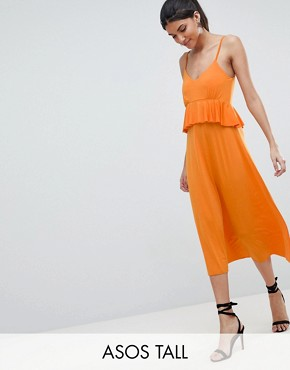 photo Slinky Midi Sundress with Waist Ruffle by ASOS DESIGN Tall, color Orange - Image 1