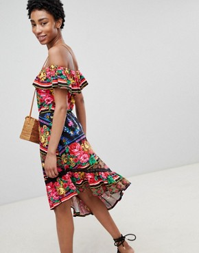 photo Off Shoulder Midi Sundress in Spliced Floral by ASOS DESIGN Tall, color Multi - Image 2