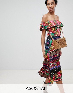 photo Off Shoulder Midi Sundress in Spliced Floral by ASOS DESIGN Tall, color Multi - Image 1