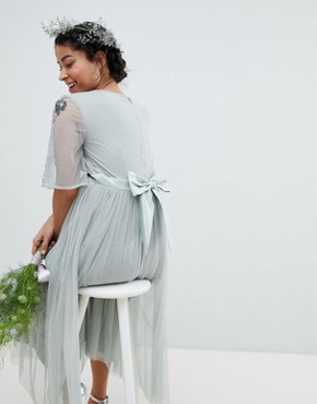 photo Embellished Tulle Sleeve Midi Tulle Dress by Maya Maternity, color Green Lily - Image 2