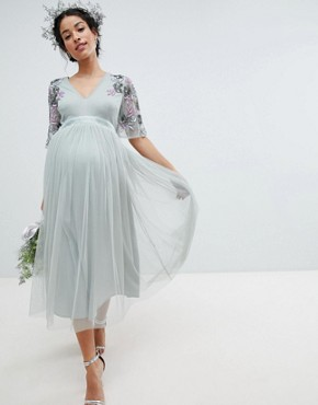 photo Embellished Tulle Sleeve Midi Tulle Dress by Maya Maternity, color Green Lily - Image 1