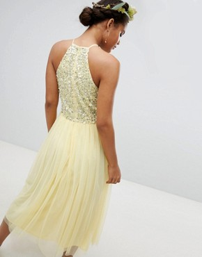 photo Halterneck Delicate Sequin Detail Tulle Midi Dress by Maya Tall, color Lemon - Image 2