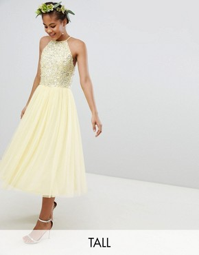 photo Halterneck Delicate Sequin Detail Tulle Midi Dress by Maya Tall, color Lemon - Image 1