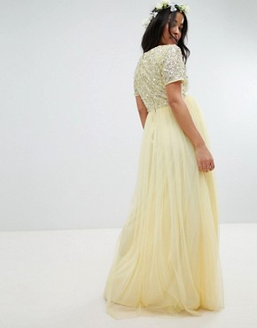 photo Cap Sleeve Delicate Sequin Detail Tulle Maxi Dress by Maya Maternity, color Lemon - Image 2