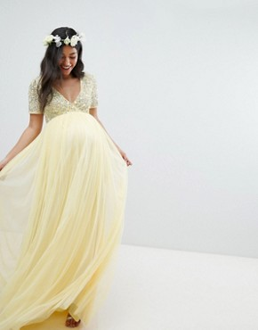 photo Cap Sleeve Delicate Sequin Detail Tulle Maxi Dress by Maya Maternity, color Lemon - Image 1