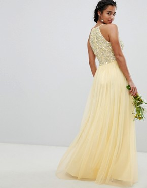 photo Halterneck Delicate Sequin Detail Tulle Maxi Dress by Maya Petite, color Lemon - Image 2