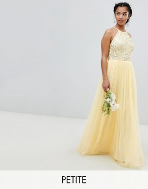 photo Halterneck Delicate Sequin Detail Tulle Maxi Dress by Maya Petite, color Lemon - Image 1