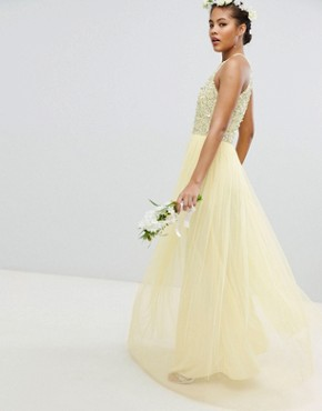 photo Halterneck Delicate Sequin Detail Tulle Maxi Dress by Maya Tall, color Lemon - Image 2