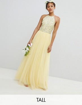 photo Halterneck Delicate Sequin Detail Tulle Maxi Dress by Maya Tall, color Lemon - Image 1
