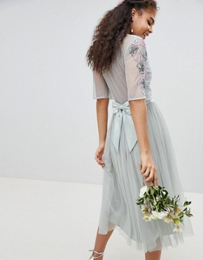 photo Embellished Tulle Sleeve Midi Tulle Dress by Maya Tall, color Green Lily - Image 2