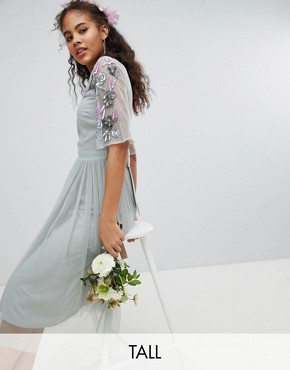 photo Embellished Tulle Sleeve Midi Tulle Dress by Maya Tall, color Green Lily - Image 1