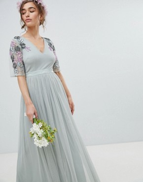 photo Embellished Tulle Sleeve Maxi Tulle Dress by Maya Petite, color Green Lily - Image 4