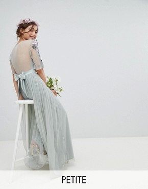 photo Embellished Tulle Sleeve Maxi Tulle Dress by Maya Petite, color Green Lily - Image 1