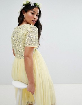 photo Cap Sleeve Delicate Sequin Detail Tulle Midi Dress by Maya Maternity, color Lemon - Image 2
