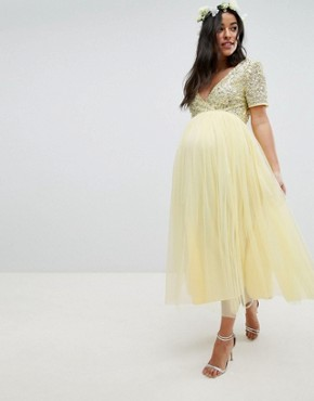 photo Cap Sleeve Delicate Sequin Detail Tulle Midi Dress by Maya Maternity, color Lemon - Image 1