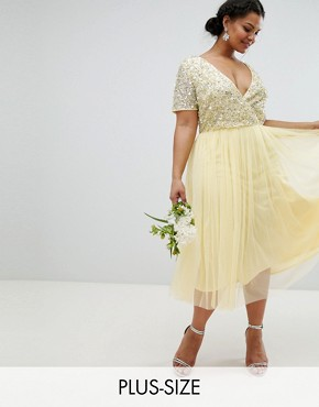 photo Cap Sleeve Delicate Sequin Detail Tulle Midi Dress by Maya Plus, color Lemon - Image 1
