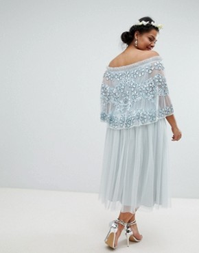 photo Embellished Bardot Layered Midaxi Dress by Maya Plus, color Ice Blue - Image 2