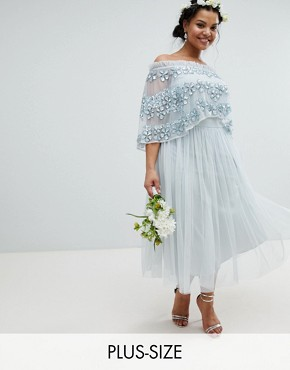 photo Embellished Bardot Layered Midaxi Dress by Maya Plus, color Ice Blue - Image 1