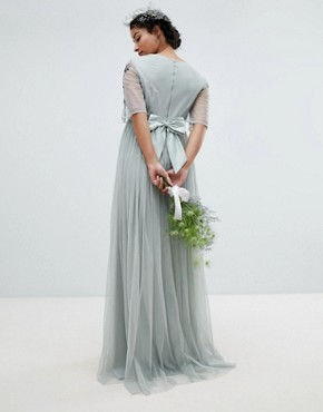 photo Embellished Tulle Sleeve Maxi Tulle Dress by Maya Maternity, color Green Lily - Image 2