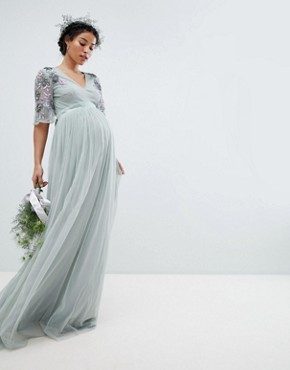 photo Embellished Tulle Sleeve Maxi Tulle Dress by Maya Maternity, color Green Lily - Image 1
