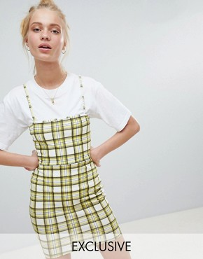 photo 90's Cami Dress in Check by Daisy Street, color Yellow - Image 1