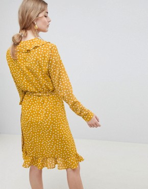 photo Chanie Ruffle Polka Dot Wrap Dress by Selected, color Honey - Image 2