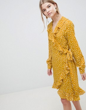 photo Chanie Ruffle Polka Dot Wrap Dress by Selected, color Honey - Image 1