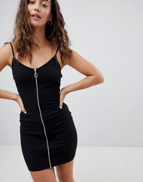 photo 90's Cami Dress with Zip Front by Daisy Street, color Black - Image 1