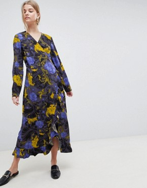 photo Sonja Floral Wrap Midi Dress by Selected, color Flower Aop - Image 1