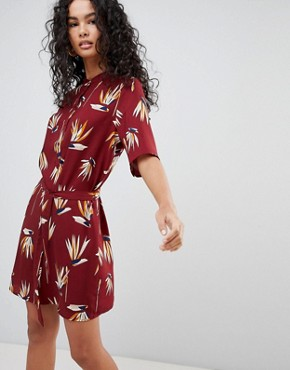 photo Olana Floral Print Belted Shirt Dress by Only, color Red - Image 1