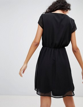 photo Nete Dafne Dress with Beaded Neck Trim by Only, color Black - Image 2