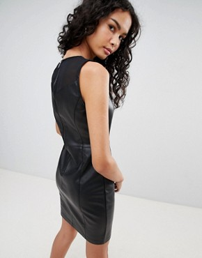 photo Kim Faux Leather Pencil Dress by Only, color Black - Image 2