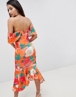 photo Floral Ruffle Cold Shoulder Asymmetric Pephem Midi Dress by ASOS DESIGN, color Multi - Image 2