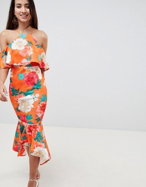 photo Floral Ruffle Cold Shoulder Asymmetric Pephem Midi Dress by ASOS DESIGN, color Multi - Image 1