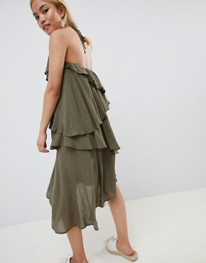 photo Ruffle Halter Neck Dress by Vero Moda Petite, color Ivory Green - Image 2