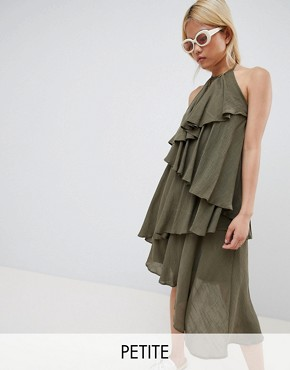 photo Ruffle Halter Neck Dress by Vero Moda Petite, color Ivory Green - Image 1