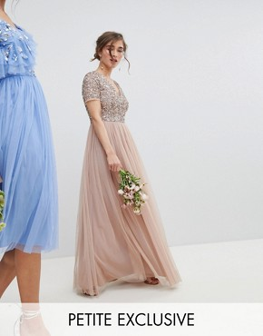photo V-Neck Maxi Tulle Dress with Tonal Delicate Sequins by Maya Petite, color Taupe Blush - Image 1