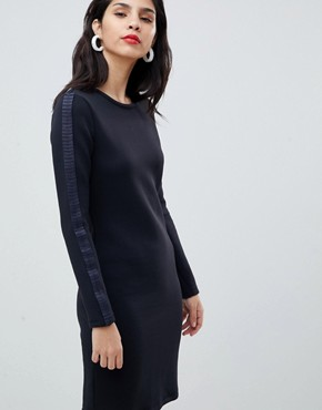 photo Knitted Dress with Pleat Detail by BOSS Casual, color Open Blue - Image 1