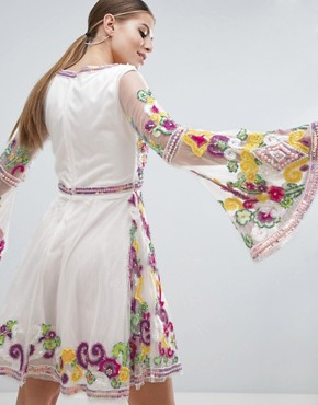 photo Multi Coloured Embellished Mini Skater Dress with Fluted Sleeve by A Star Is Born, color Multi - Image 2