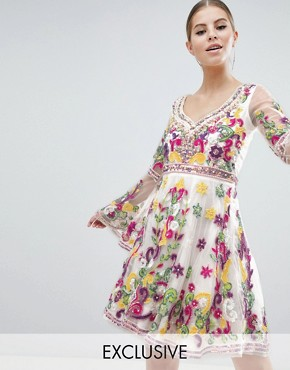 photo Multi Coloured Embellished Mini Skater Dress with Fluted Sleeve by A Star Is Born, color Multi - Image 1