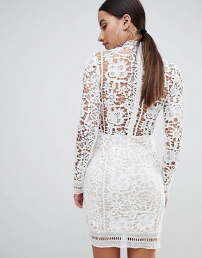 photo Crochet Lace Long Sleeve Mini Dress by Missguided, color White - Image 2