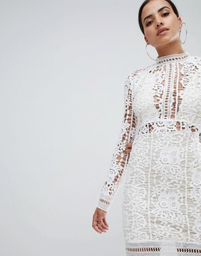 photo Crochet Lace Long Sleeve Mini Dress by Missguided, color White - Image 1