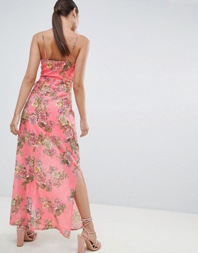 photo Chiffon Floral Side Split Maxi Dress by Missguided, color Pink Floral - Image 2