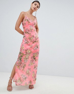 photo Chiffon Floral Side Split Maxi Dress by Missguided, color Pink Floral - Image 1