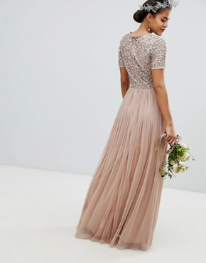 photo V-Neck Maxi Tulle Dress with Tonal Delicate Sequins by Maya Tall, color Taupe Blush - Image 2