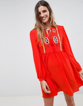 photo Smock Dress with Tassel Ties and Embroidery by Glamorous, color Red - Image 1