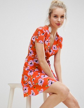 photo Mini Dress with Tie Waist in Contrast Floral Print by Glamorous, color Red Floral - Image 1